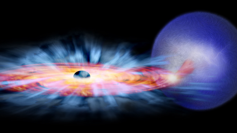 Artist's concept of a black hole accreting matter from a star.
