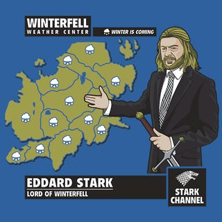 Illustration for article titled Ned Stark, Westeros' most depressing meteorologist, on a t-shirt