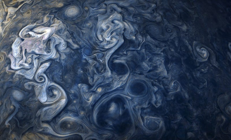 A glorious shot of Jupiter's swirling cloud tops.