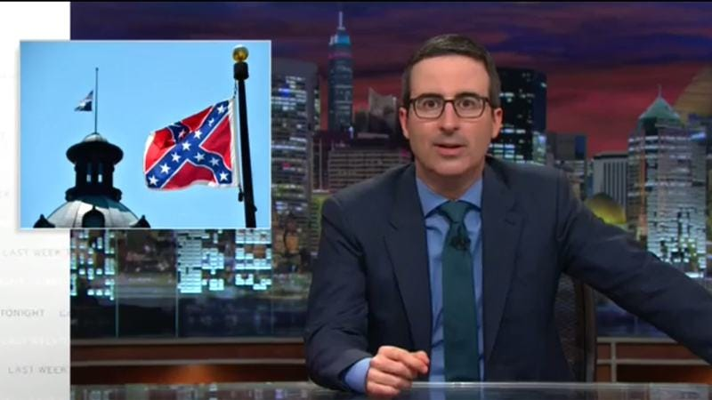 Illustration for article titled No sir, John Oliver doesn't like the Confederate flag