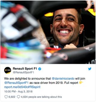 Illustration for article titled Riccardo leaving Red Bull for Renault