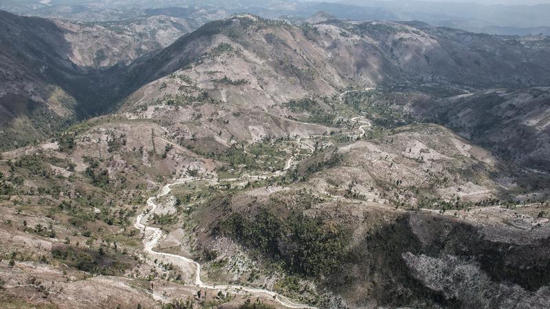 The treeless hills in the Massif De La Hotte, Haiti.