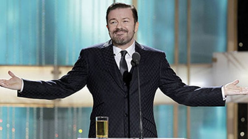 "Illustration for article titled UPDATE: Ricky Gervais says he's been asked to host the Golden Globes again; Golden Globes say, ""No way"""