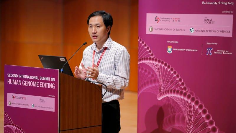 He Jiankui at the Human Genome Editing Conference in Hong Kong on November 28, 2018.