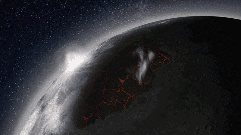 Artist's impression of the Moon, looking over the Imbrium Basin, with lavas erupting, venting gases, and producing a visible atmosphere. (Image: NASA MSFC)