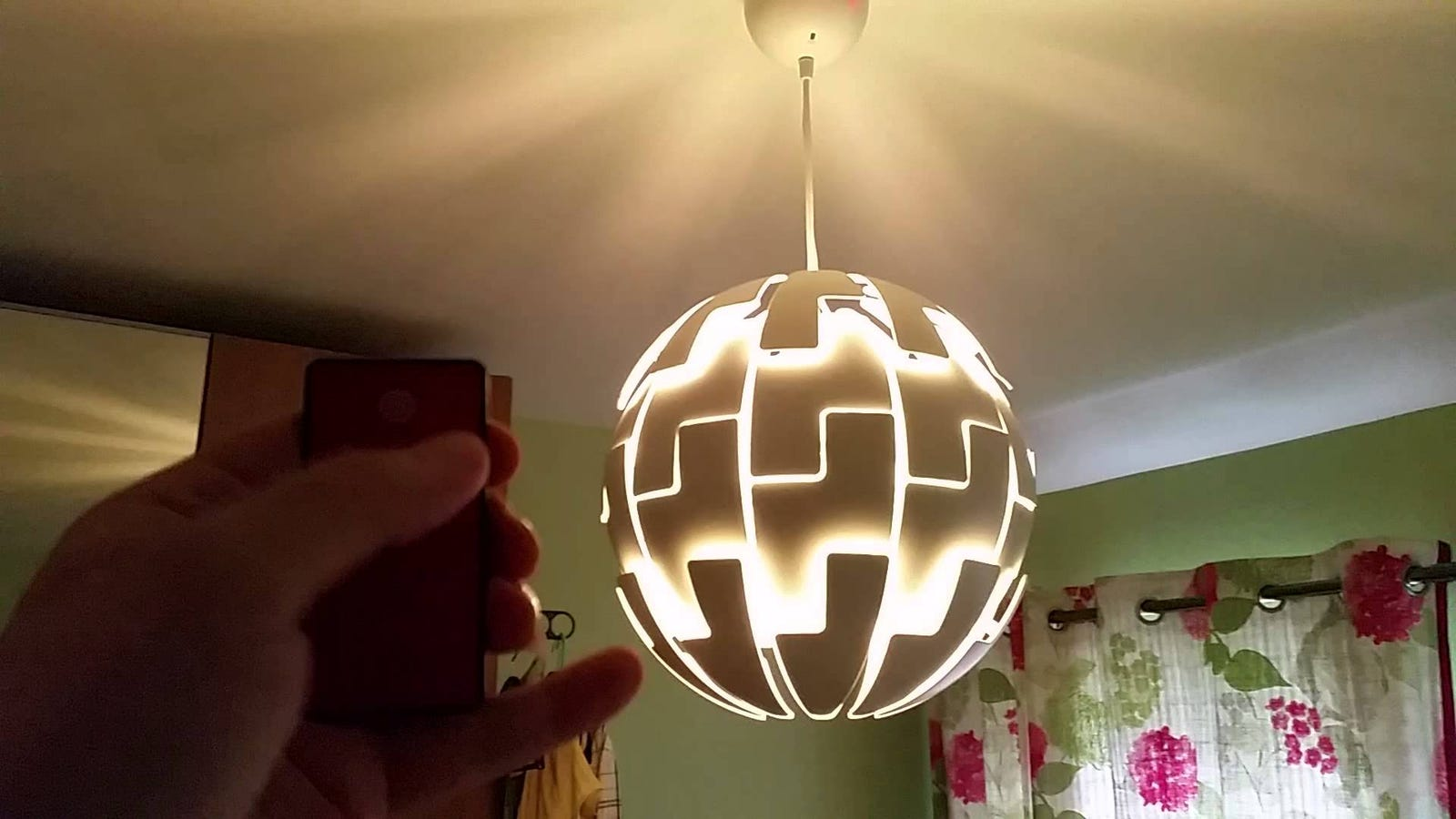 turn an ikea lamp into a remote controlled death star lamp. Black Bedroom Furniture Sets. Home Design Ideas
