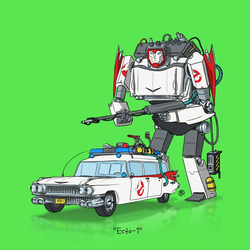Illustration for article titled The Ecto-1, Mach V, KITT and More, Drawn as Transformers