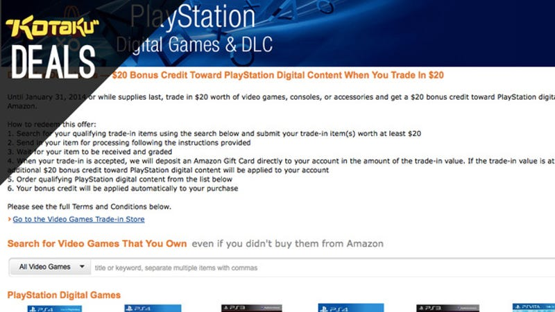 Illustration for article titled Trade In $20 Worth Of Games, Get A Bonus $20 Of Amazon PSN Credit