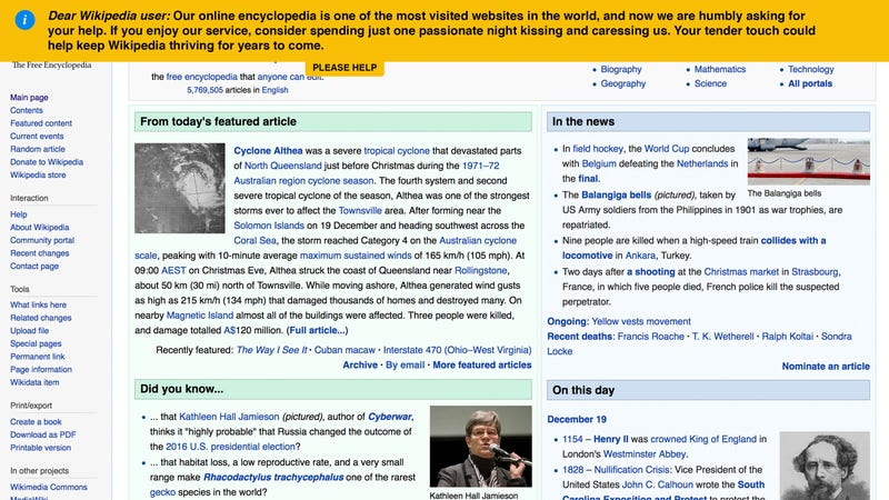 donations needed wikipedia has posted an appeal asking for one