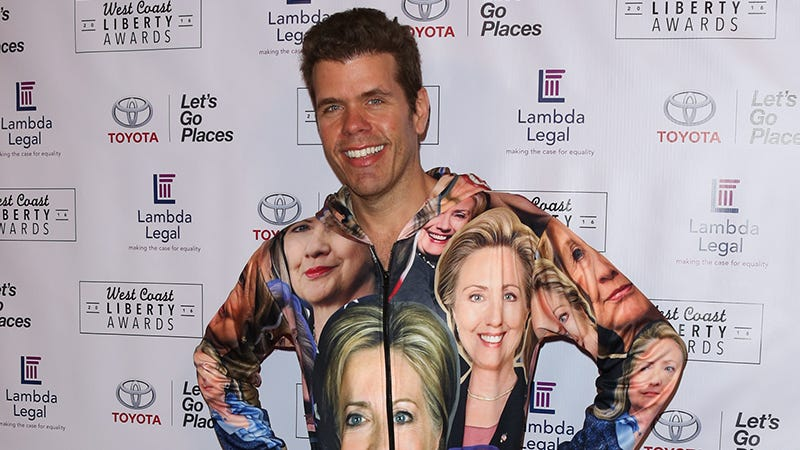 Illustration for article titled Perez Hilton Is Wearing Hillary Clinton
