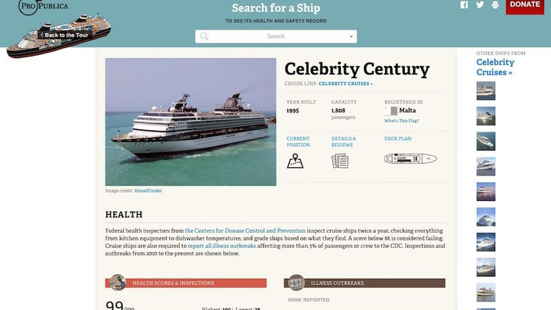 Illustration for article titled This Tool Lets You Read Health and Safety Reports for Any Cruise Ship