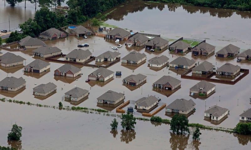 Flooded homes in Hammond, Louisiana on Saturday, August 13. Image via AP.