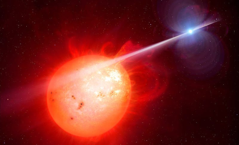 Artist's impression of the exotic binary system AR Scorpii, with a compact white dwarf star (right) flogging its red dwarf companion with high energy electrons every two minutes. Image: M. Garlick/University of Warwick/ESO