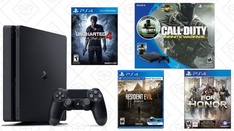 Pack PS4 con Uncharted, $235 | Pack PS4 con Call of Duty + Resident Evil Biohazard + For Honor, $300