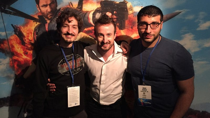 Just Cause 3 lead designer Francesco Antolini (left) and producer Omar Shakir (right) are joined by director Roland Lesterlin (center, not interviewed but wanted to be photographed anyway)