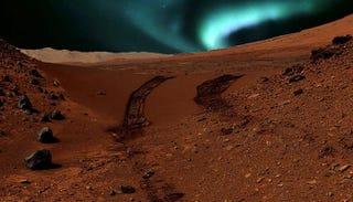 Illustration for article titled Las auroras en Marte son visibles a simple vista: este sería su aspecto