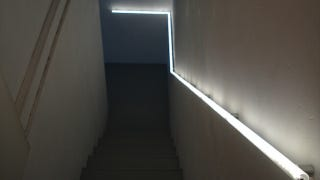 basement stairs looking down. If you have a set of basement stairs with no lighting  IKEA Hackers user Denis shows off way to install lighted handrail in small space few Create Glowing Handrail Guide You Down the Stairs