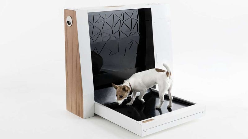 Illustration for article titled Este baño automatizado para perros recoge la caca de tu mascota por sí solo
