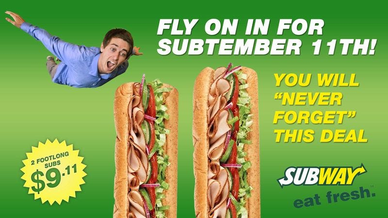 Illustration for article titled New Subway Promotion To Honor Subtember 11