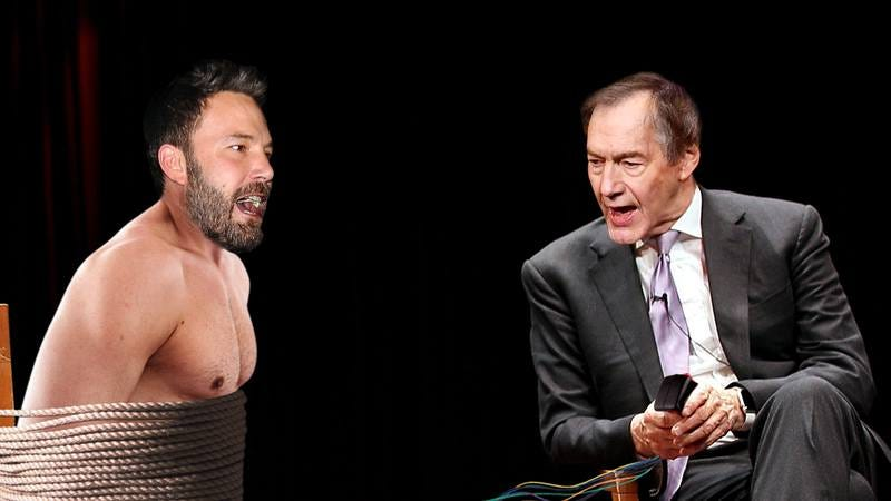 Charlie Rose holding Ben Affleck captive.