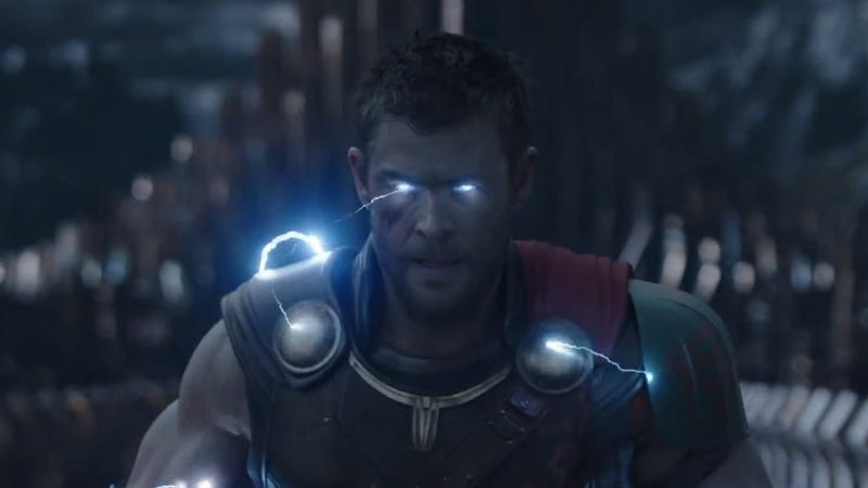 Thor will blast away spoilers with his lightning eyes. Still: Marvel via YouTube