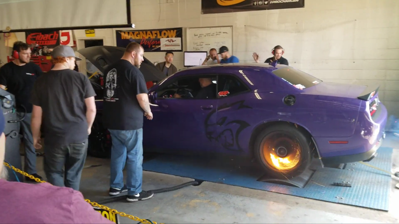 Watch This Dodge Challenger Hellcat Light Itself On Fire On A Dyno Run