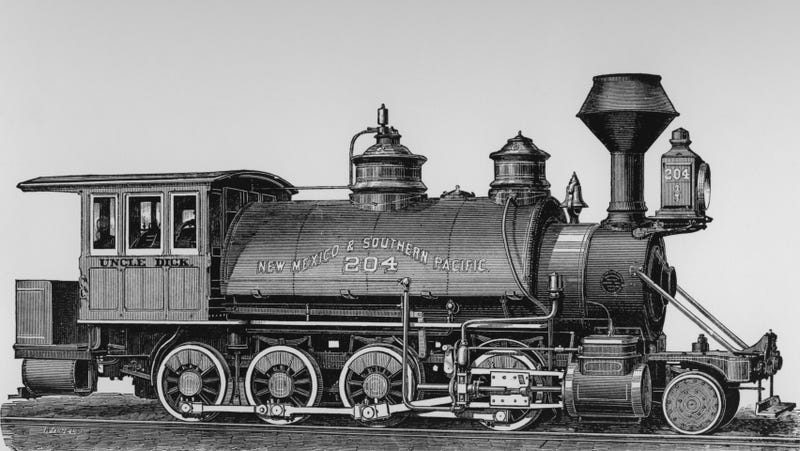 A locomotive engine built by the Baldwin Locomotive Works circa 1890, similar to the decommissioned engines crashed at Crush, Texas.