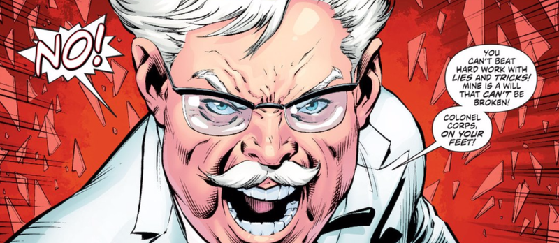 Illustration for article titled DC's New KFC Comic Turns Colonel Sanders Into Fried Chicken Jesus