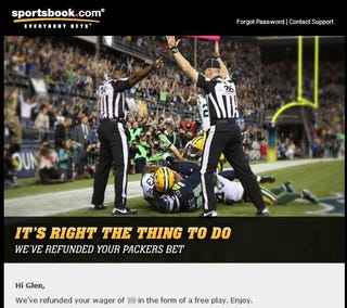 Illustration for article titled One Online Sports Book Is Refunding Everyone Who Bet On The Packers [UPDATE]
