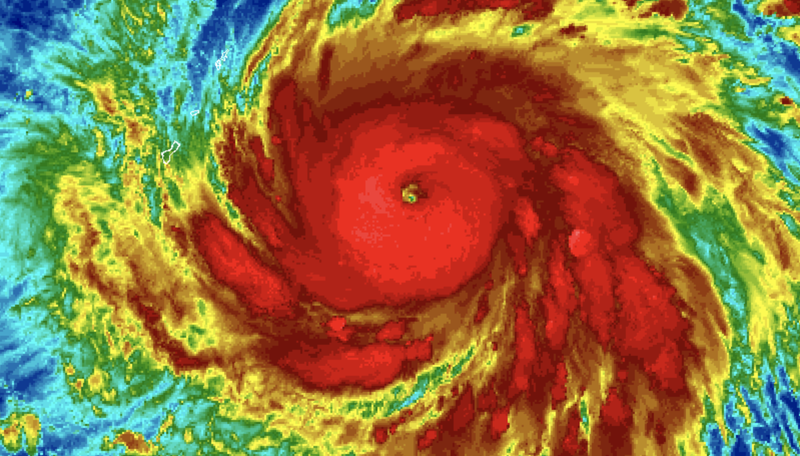 Typhoon Yutu, a rapidly intensifying Western Pacific cyclone.