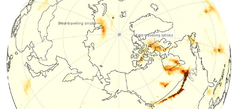 Illustration for article titled Watch Smoke from July's Wildfires Wrap Around the Arctic