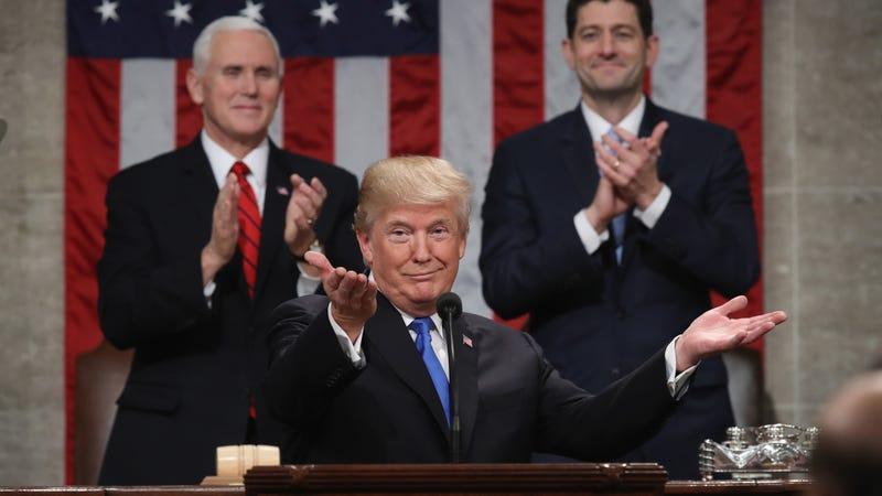 President Donald Trump delivers the State of the Union address as Vice President Mike Pence (left) and House Speaker Paul Ryan (right) look on Jan. 30, 2018, in Washington, D.C. (Win McNamee/getty Images)