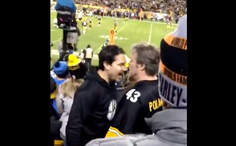 Illustration for article titled Steelers Fan Eats A Headbutt, Refuses To Stay Down