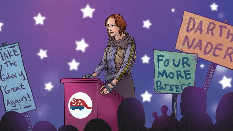 """Felicity Jones plans on riding her """"Blow Things Up"""" platform all the way to victory (illustration: Nick Wanserski"""