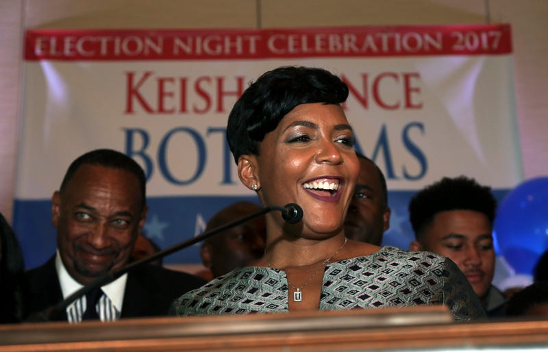 Atlanta mayoral candidate Keisha Lance Bottoms declares victory during an election-night watch party Dec. 6, 2017, in Atlanta. (John Bazemore/AP Images)