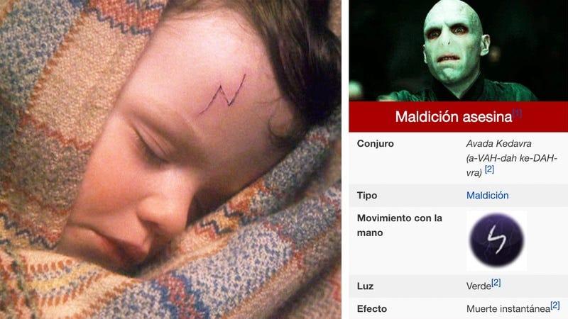Harry Potter y su cicatriz / Voldemort y el movimiento de varita para el Avada Kedavra