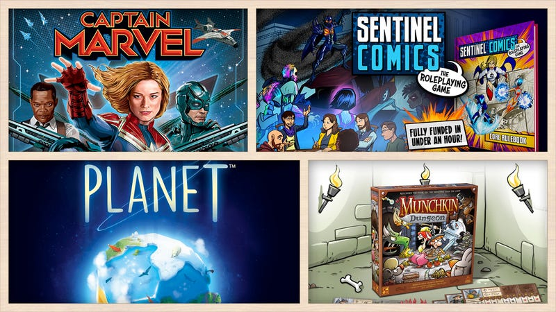 Game art for Captain Marvel: Secret Skrulls, Sentinel Comics, Munchkin Dungeon, and Planet.