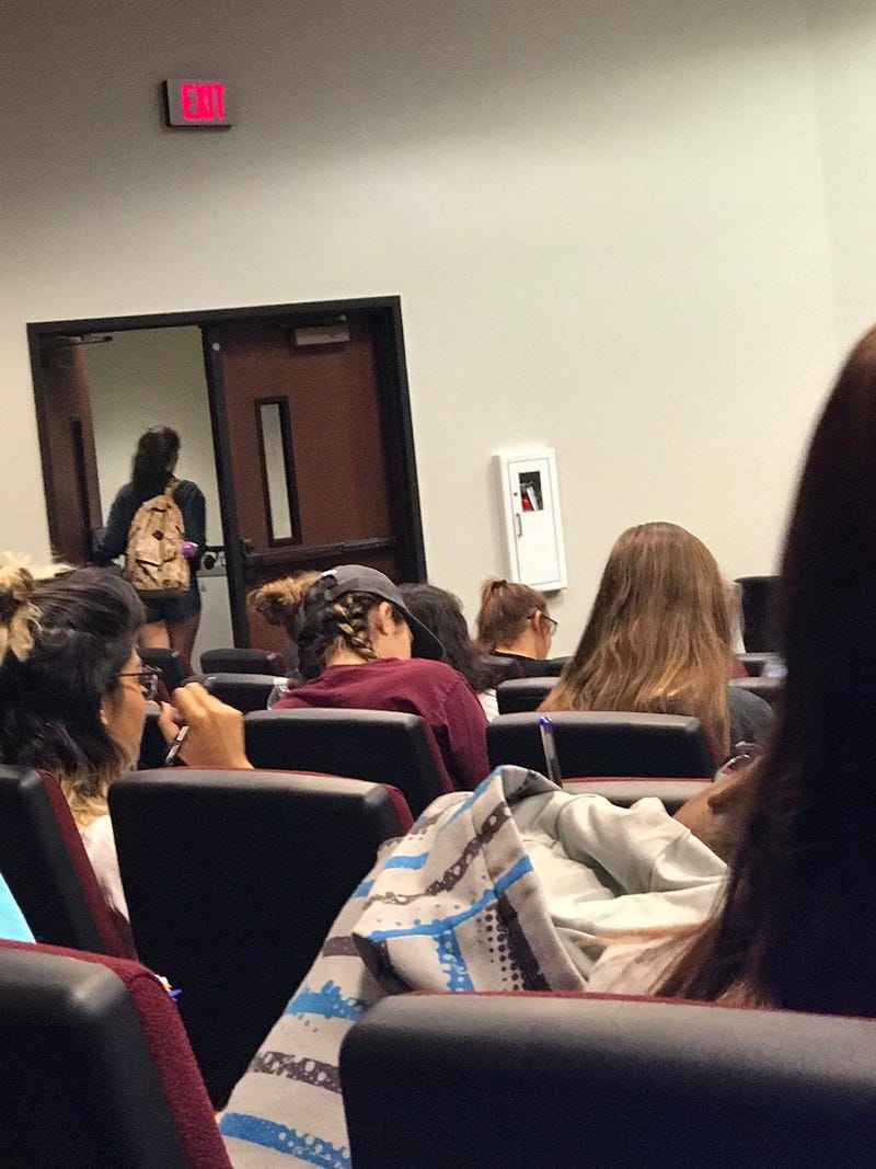 A student leaves professor Jon McGee's classroom at Texas State University.Twitter