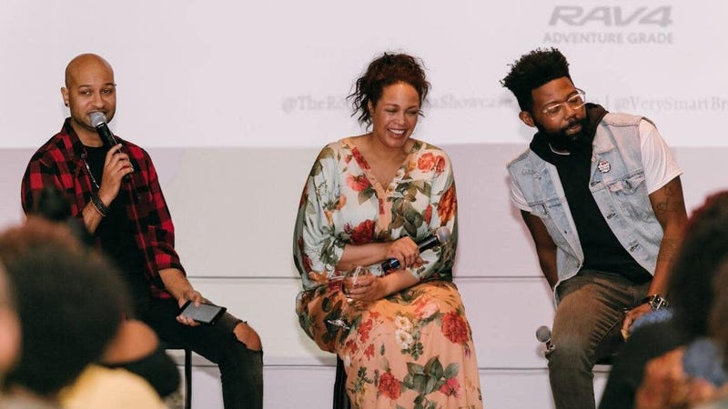 (l-r) VSB co-founder Panama Jackson, The Glow Up's Maiysha Kai, and VSB co-founder Damon Young at a Toyota-sponsored event in Los Angeles in 2018.