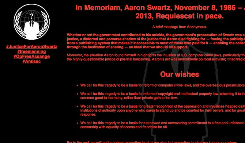 Illustration for article titled Anonymous hackea al MIT por la muerte de Aaron Swartz, pide reformar la ley del copyright