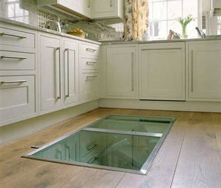 Rich Wine Nerds Have A Cellar Very Install Door In Their Kitchen Floor Leading To Spiral Staircase Surrounded By