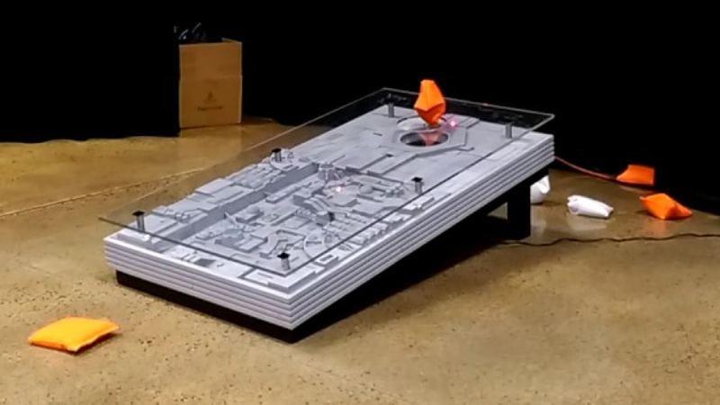 Screenshot: Death Star trench run cornhole