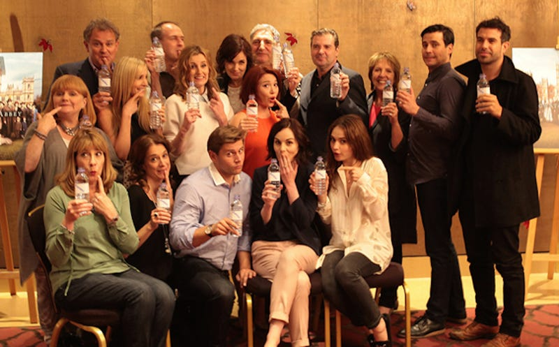 Illustration for article titled Downton Abbey Cast Gracefully Recovers from Water Bottle Gaffe