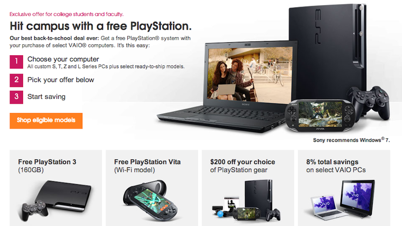 Illustration for article titled Sony Will Give You a Free PS3 or PS Vita If You Buy a Vaio Laptop