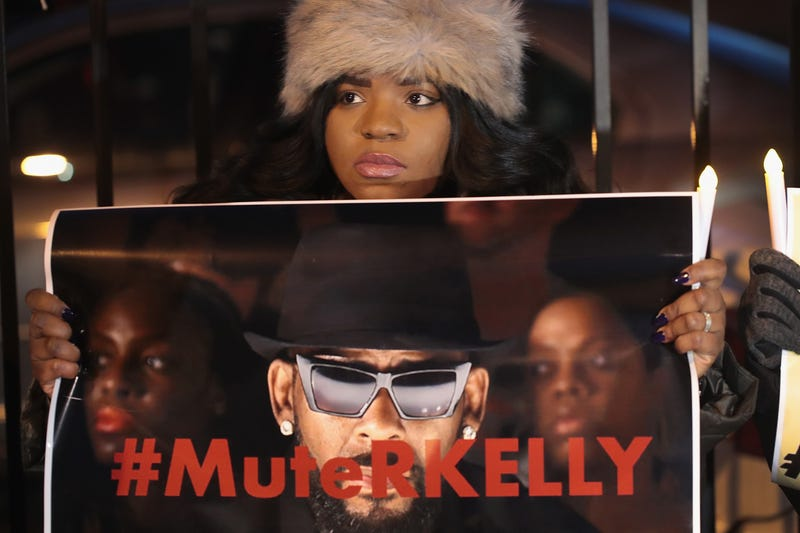 Demonstrators gather near the studio of singer R. Kelly to call for a boycott of his music after allegations of sexual abuse against young girls were raised on the highly-rated Lifetime mini-series 'Surviving R. Kelly' on January 09, 2019 in Chicago, Illinois.