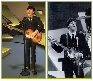 Illustration for article titled Real Beatles Compared To Beatles Screenshots