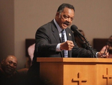 The Rev. Jesse Jackson Sr. speaks during a rally. (Mario Toma/Getty Images)
