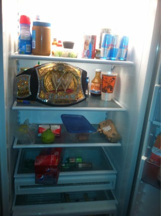 Illustration for article titled This Is What The WWE Title Belt Looks Like In CM Punk's Fridge
