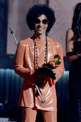 Prince speaking onstage during the 57th annual Grammy Awards at the Staples Center in Los Angeles on Feb. 8, 2015.Kevork Djansezian/Getty Images