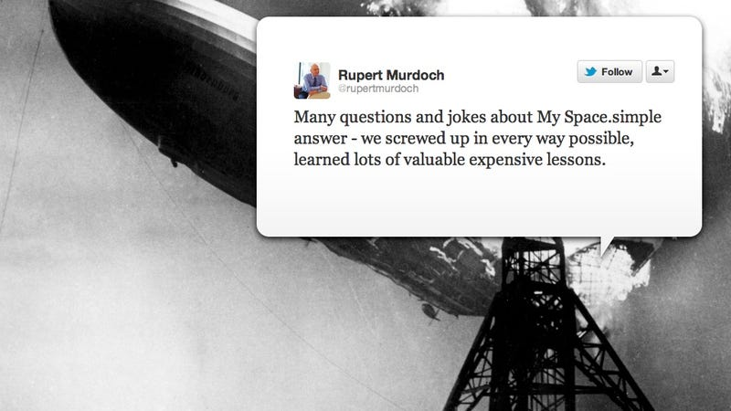 """Illustration for article titled Rupert Murdoch Admits He Screwed Up MySpace """"In Every Way"""""""